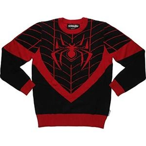 MARVEL XL Red Black Spiderman Pullover Sweater